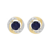 9ct White Gold Iolite Stud Earrings & Diamond Halo Ear Jacket Image 1
