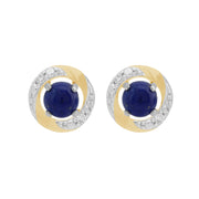 9ct White Gold Lapis Lazuli Stud Earrings & Diamond Halo Ear Jacket Image 1