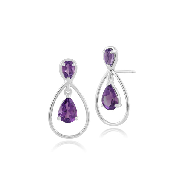 Amethyst Drop Earrings in 9ct White Gold Image 1