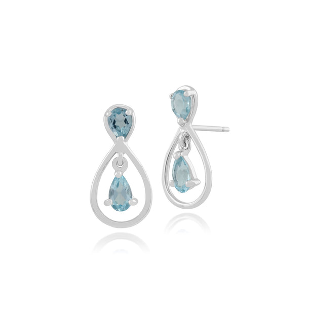 Topaz Drop Earrings in 9ct White Gold Image 1