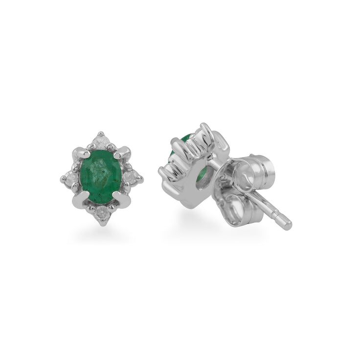 Classic Emerald & Diamond Cluster Stud Earrings Image 2