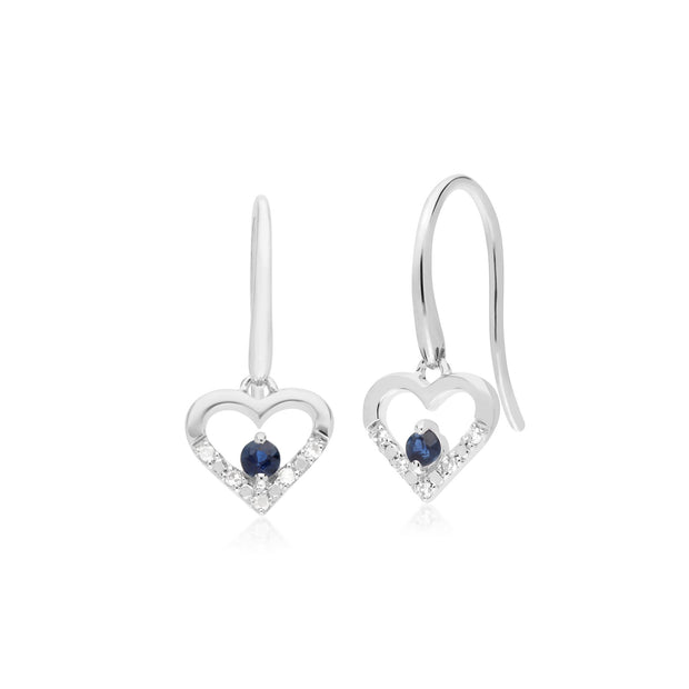 Classic Sapphire & Diamond Heart Drop Earrings & Pendant Set Image 2