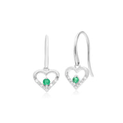 Classic Emerald & Diamond Heart Drop Earrings & Pendant Set Image 2