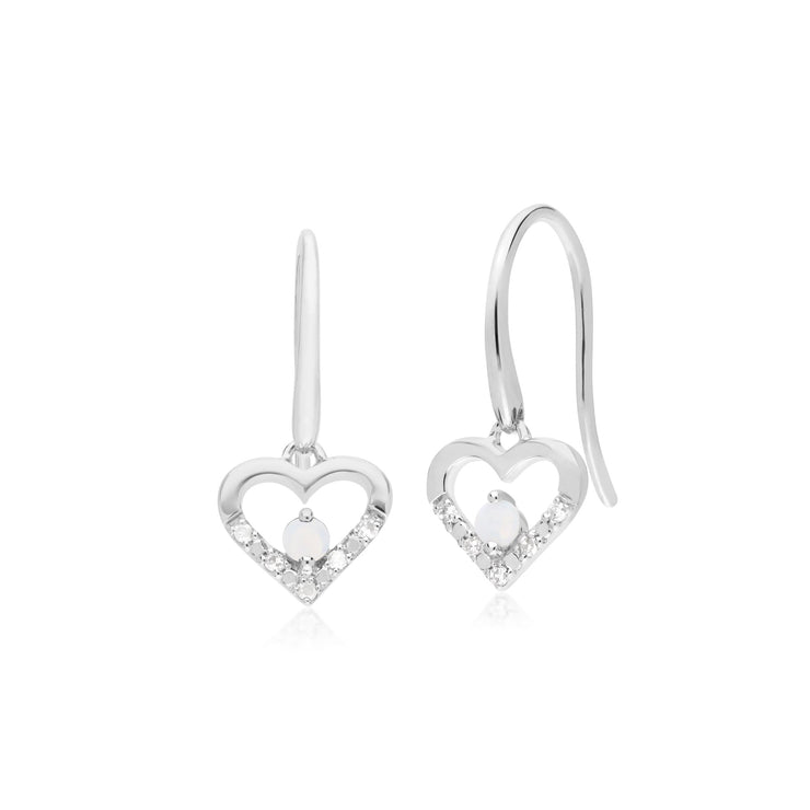 Classic Opal & Diamond Heart Drop Earrings Image 1