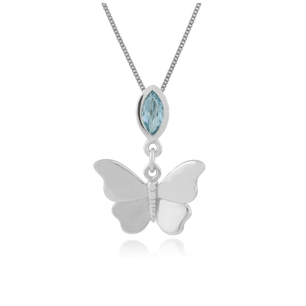 Classic Blue Topaz Butterfly Pendant Image 1