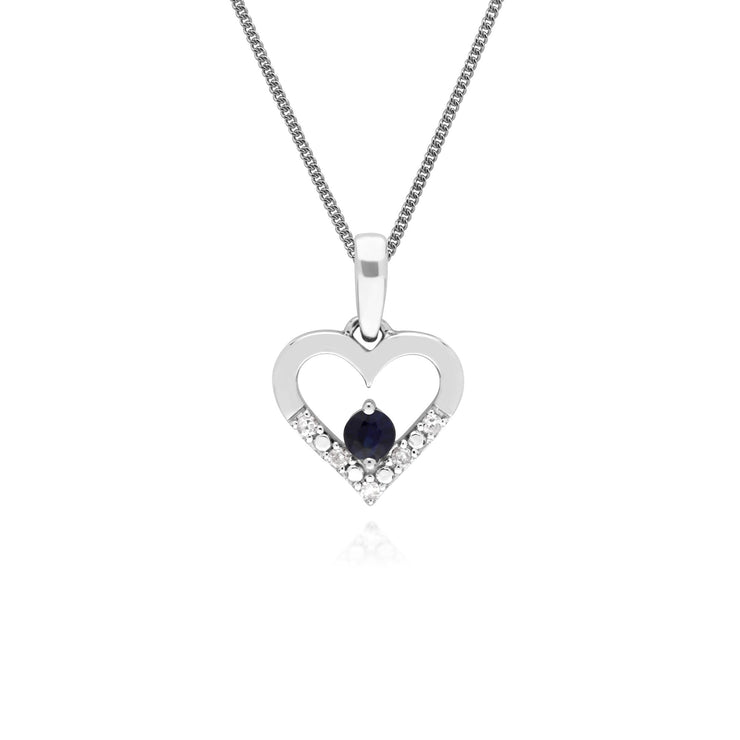 Classic Sapphire & Diamond Heart Drop Earrings & Pendant Set Image 3