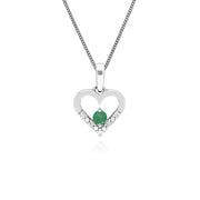 Classic Emerald & Diamond Heart Drop Earrings & Pendant Set Image 3