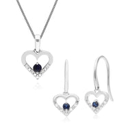 Classic Sapphire & Diamond Heart Drop Earrings & Pendant Set Image 1