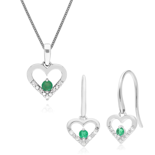 Classic Emerald & Diamond Heart Drop Earrings & Pendant Set Image 1