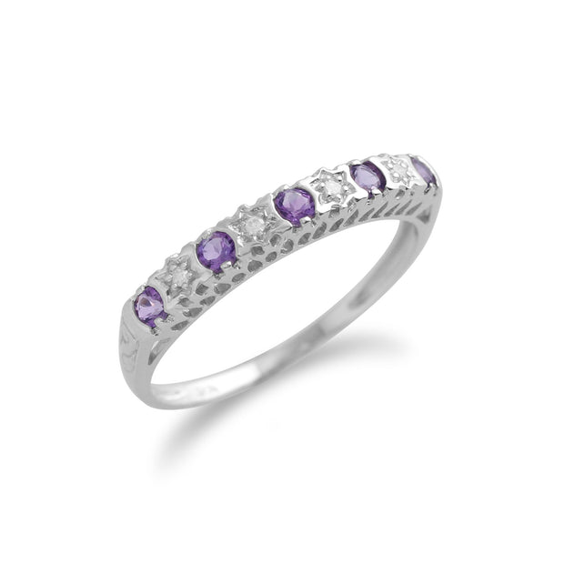 Amethyst & Diamond Half Eternity Ring Image 2