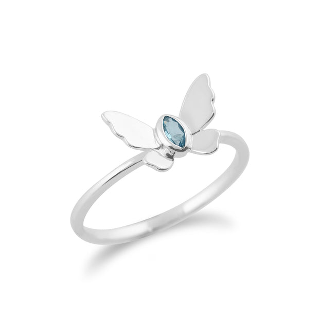 Gemondo 9ct White Gold 0.08ct Blue Topaz Butterfly Ring Image 2