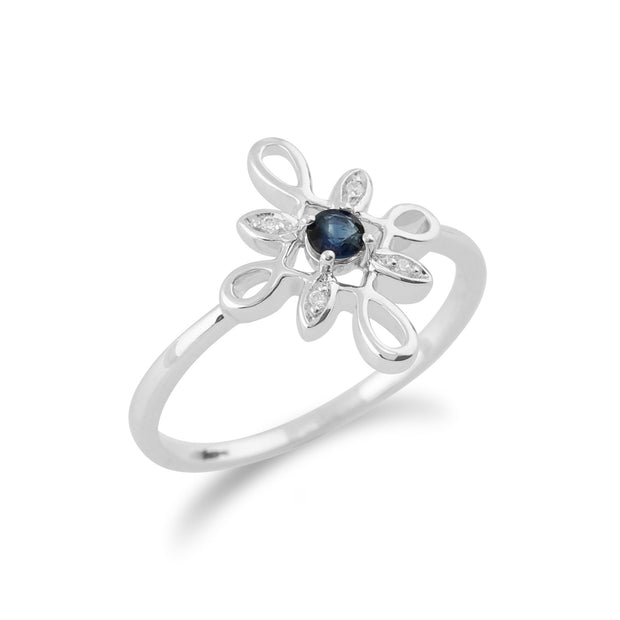 Gemondo 9ct White Gold 0.13ct Sapphire & Diamond Star Shaped Ring Image 2