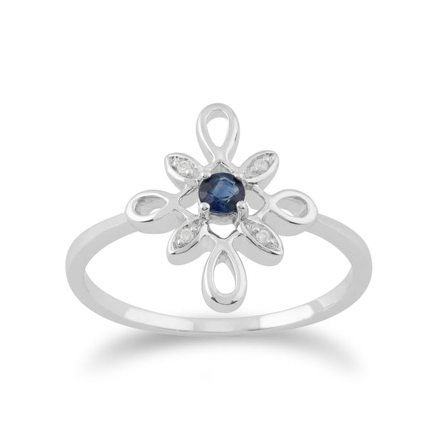 Gemondo 9ct White Gold 0.13ct Sapphire & Diamond Star Shaped Ring Image 1