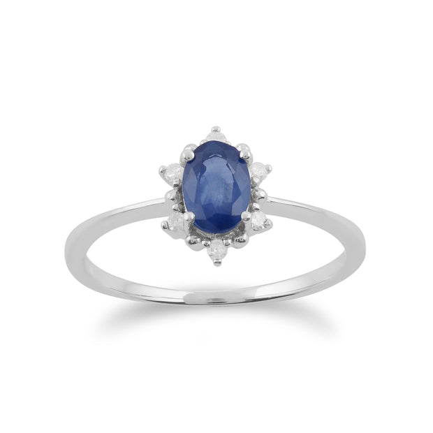 Gemondo 9ct White Gold 0.57ct Sapphire & Diamond Oval Cluster Ring Image 1