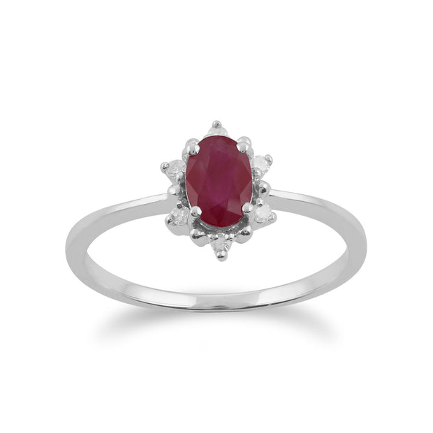 Gemondo 9ct White Gold 0.63ct Ruby & Diamond Oval Cluster Ring Image 1