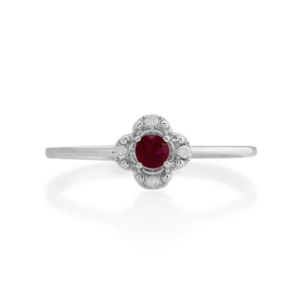 Gemondo 9ct White Gold 0.15ct Ruby & Diamond Floral Ring Image 2