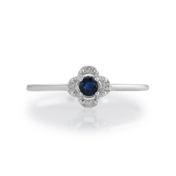 Gemondo 9ct White Gold 0.14ct Sapphire & Diamond Floral Ring Image 2