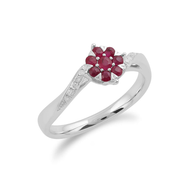 Gemondo 9ct White Gold 0.32ct Ruby & Diamond Floral Ring Image 2