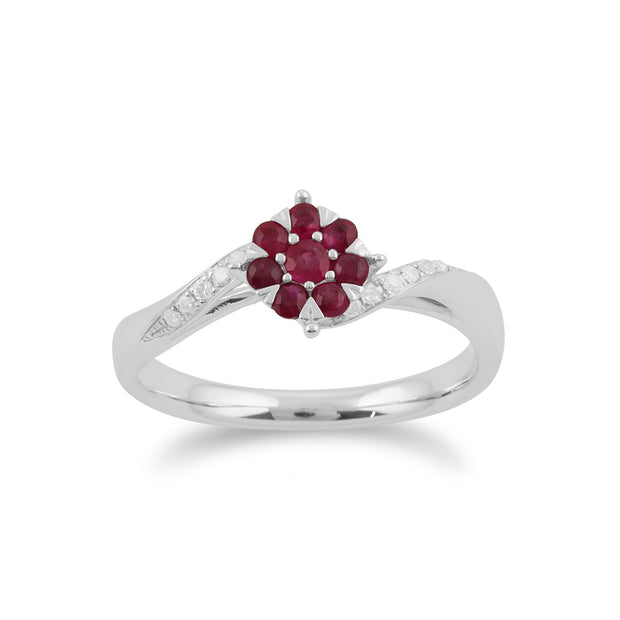 Gemondo 9ct White Gold 0.32ct Ruby & Diamond Floral Ring Image 1
