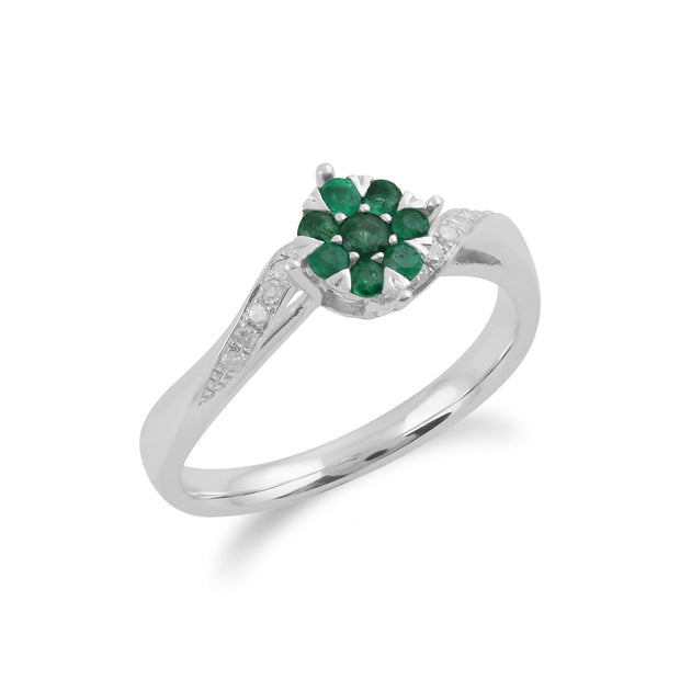 Gemondo 9ct White Gold 0.24ct Emerald & Diamond Floral Ring Image 2