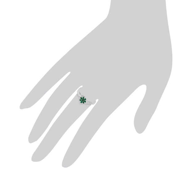 Gemondo 9ct White Gold 0.24ct Emerald & Diamond Floral Ring Image 3