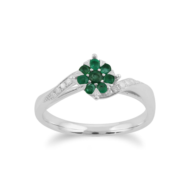 Gemondo 9ct White Gold 0.24ct Emerald & Diamond Floral Ring Image 1