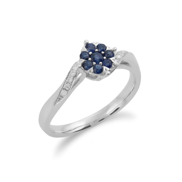 Gemondo 9ct White Gold 0.27ct Sapphire & Diamond Floral Ring Image 2