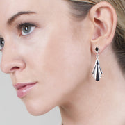 Art Deco Black Onyx & Marcasite Drop Earrings Image 2
