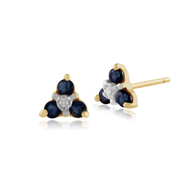 Floral Sapphire & Diamond Stud Earrings & Pendant Set Image 2