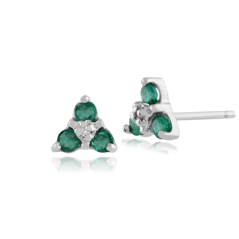 Classic Round Emerald & Diamond Cluster Stud Earrings in 9ct White Gold