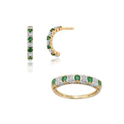 Classic Emerald & Diamond Half Hoop Earrings & Half Eternity Ring Set Image 1