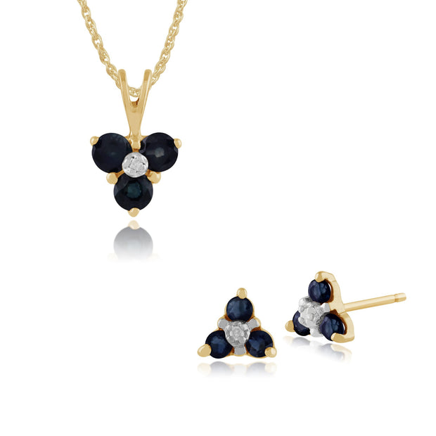 Floral Sapphire & Diamond Stud Earrings & Pendant Set Image 1