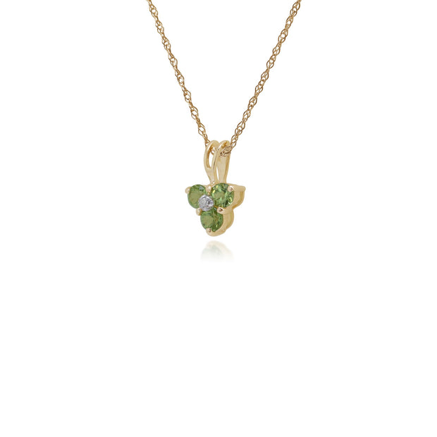 Floral Peridot & Diamond Cluster Pendant Image 2