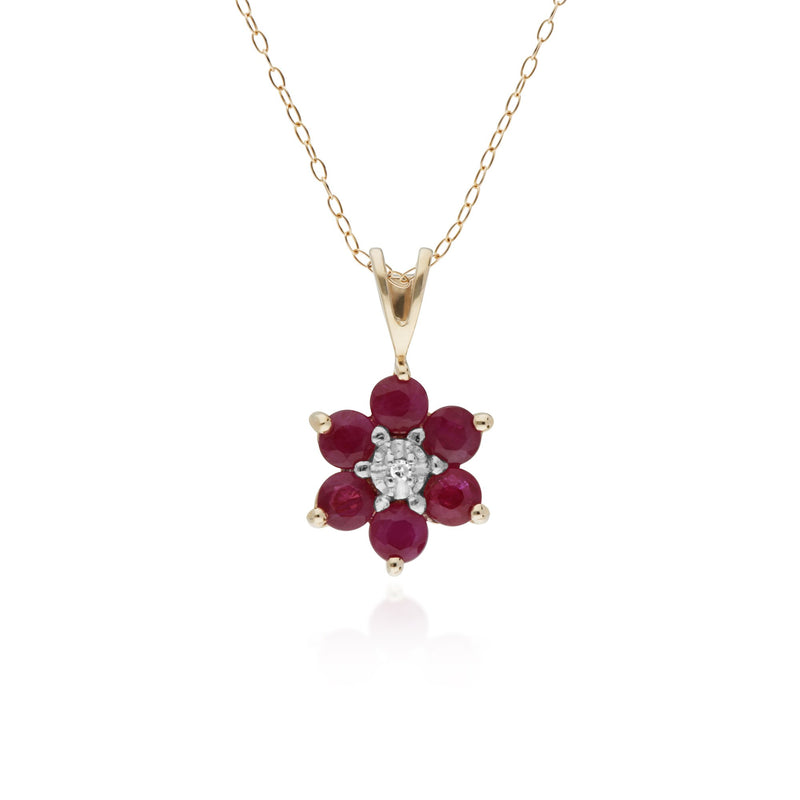 10ct Yellow Gold Ruby & Diamond Flower Pendant on 45cm Chain