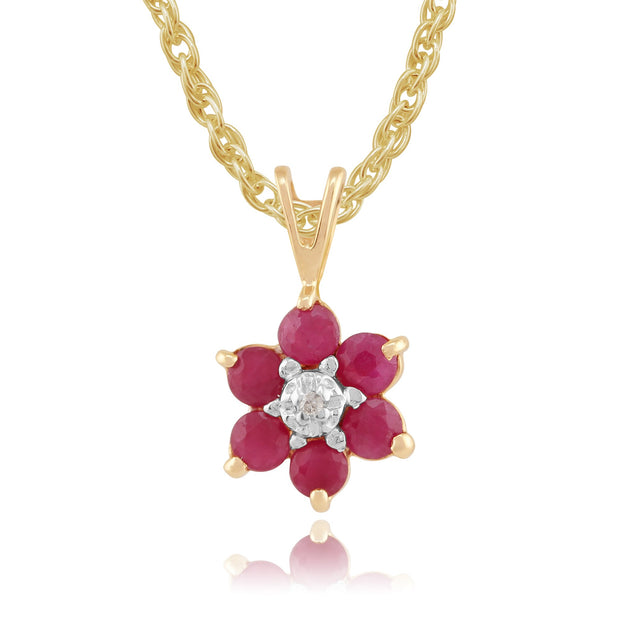 Floral Ruby & Diamond Pendant Image 1