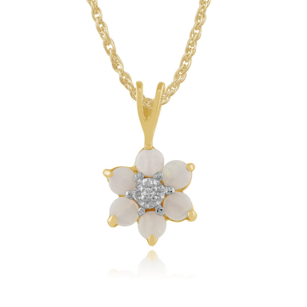 Floral Opal & Diamond Pendant on Chain Image 1