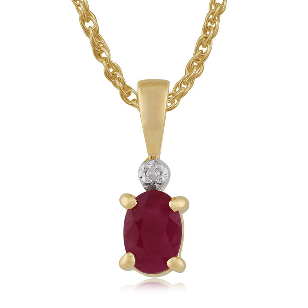 Classic Ruby & Diamond Pendant on Chain Image 1
