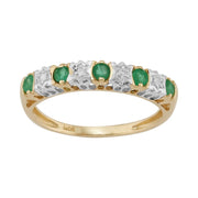 Classic Emerald & Diamond Half Hoop Earrings & Half Eternity Ring Set Image 3