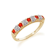 Fire Opal and Diamond Eternity Ring Image 2