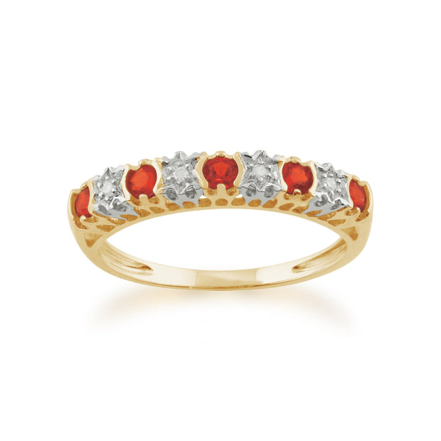 Fire Opal and Diamond Eternity Ring Image 1