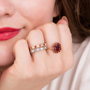 Fire Opal and Diamond Eternity Ring Image 3
