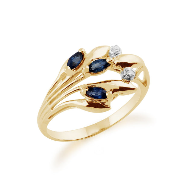 Sapphire and Diamond Floral Ring Image 2