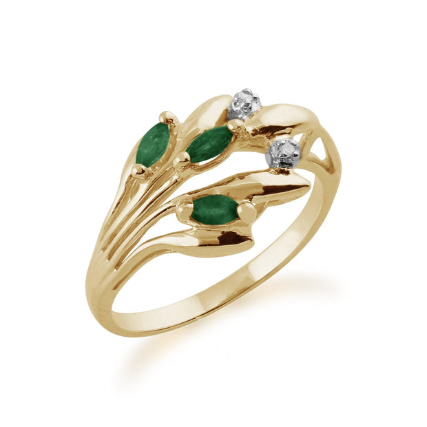 Emerald and Diamond Floral Ring Image 2
