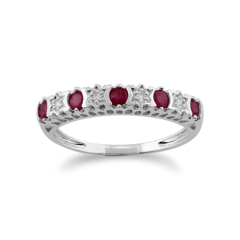 Ruby & Diamond Half Eternity Ring Image 1
