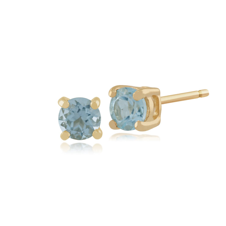 Classic Blue Topaz Stud Earrings & Diamond Floral Ear Jacket Image 2