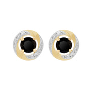 Classic Black Onyx Stud Earrings & Diamond Halo Ear Jacket Image 1