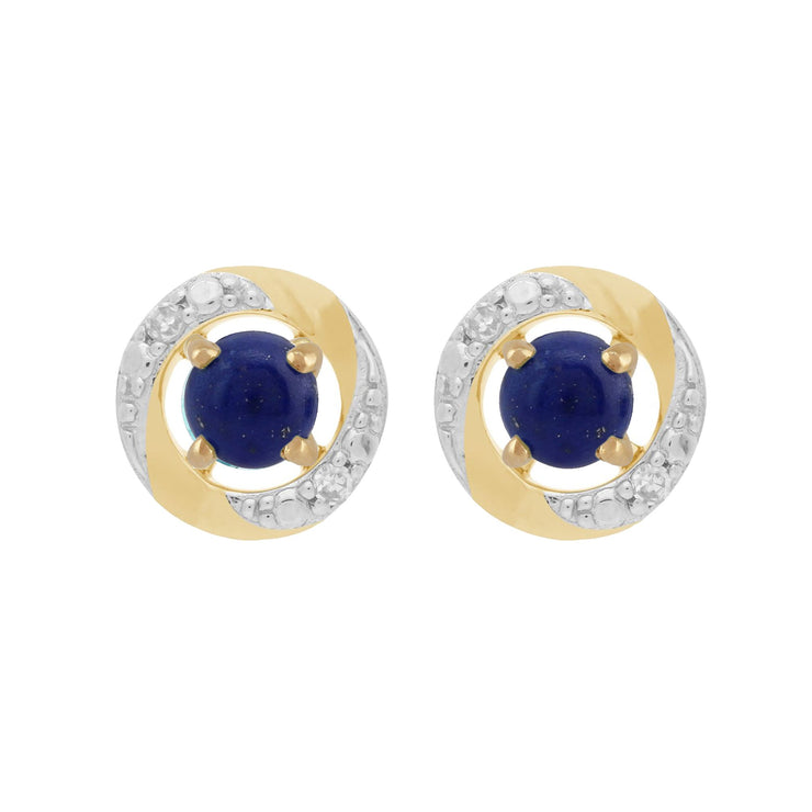 Classic Lapis Lazuli Stud Earrings & Diamond Halo Ear Jacket Image 1