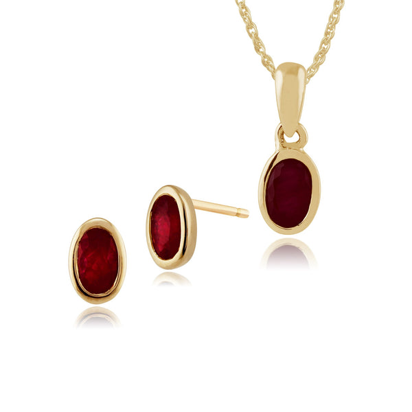 Classic Oval Ruby Bezel Stud Earrings & Pendant Set Image 1