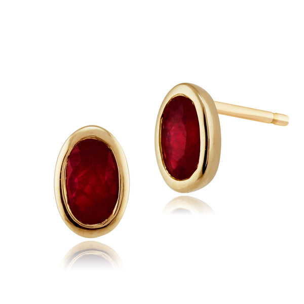 Classic Oval Ruby Bezel Stud Earrings & Pendant Set Image 2