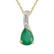 Classic Emerald & Diamond Pendant on Chain Image 1